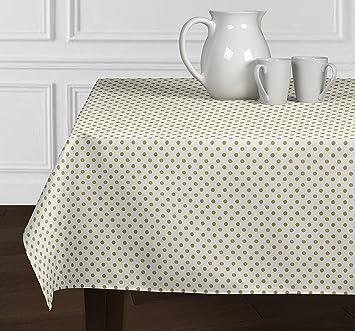 White U0026 Metallic Gold Polka Dot Tablecloths Dining Room Kitchen Rectangle  Oblong 60u0026quot; ...