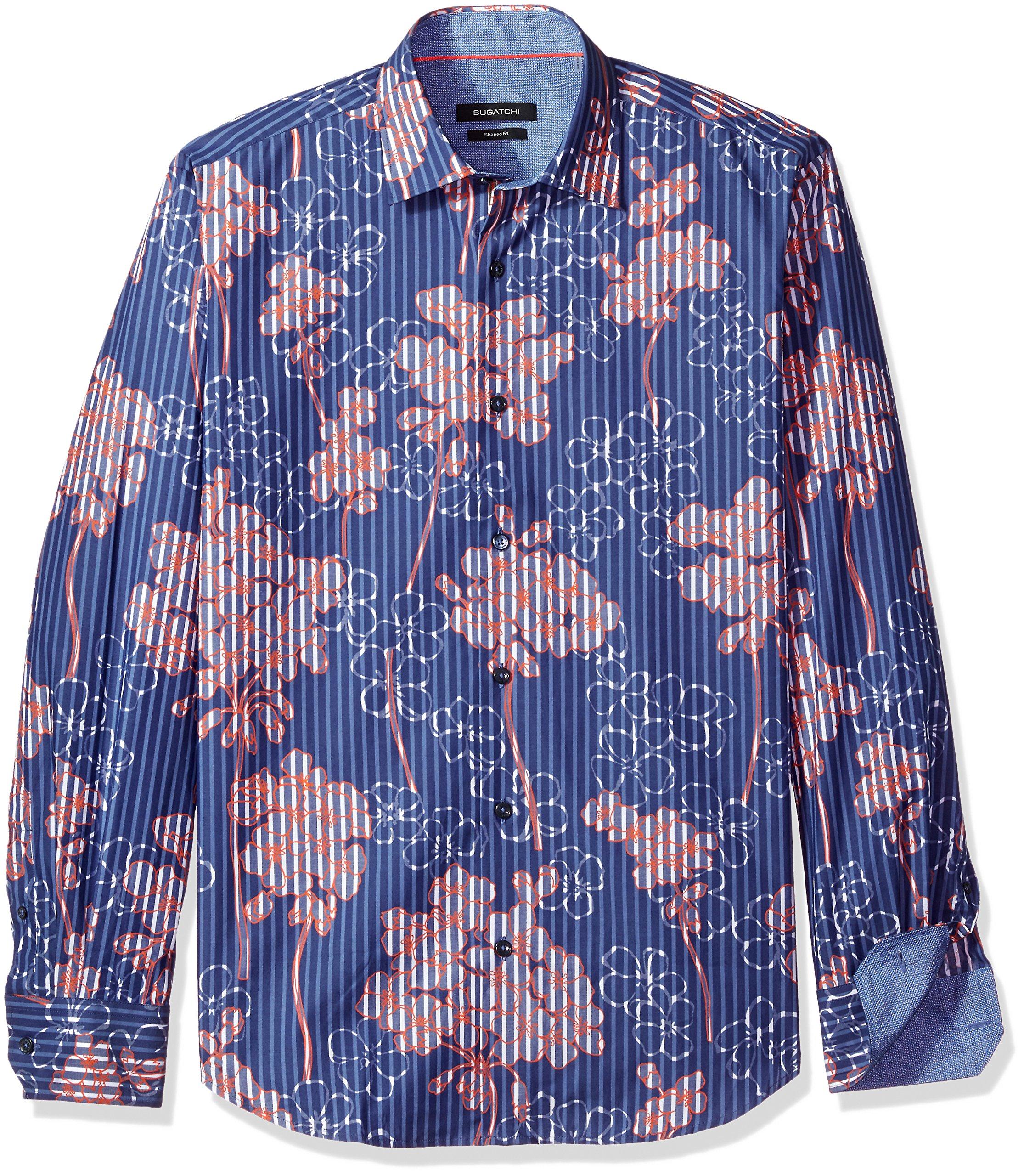 Bugatchi Men's Cotton Slim Fit French Placket Shirt, Navy, Large by Bugatchi (Image #1)