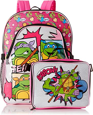 "Pink NEW Teenage Mutant Ninja Turtles 16/"" Keep in It Cool Kids Backpack"