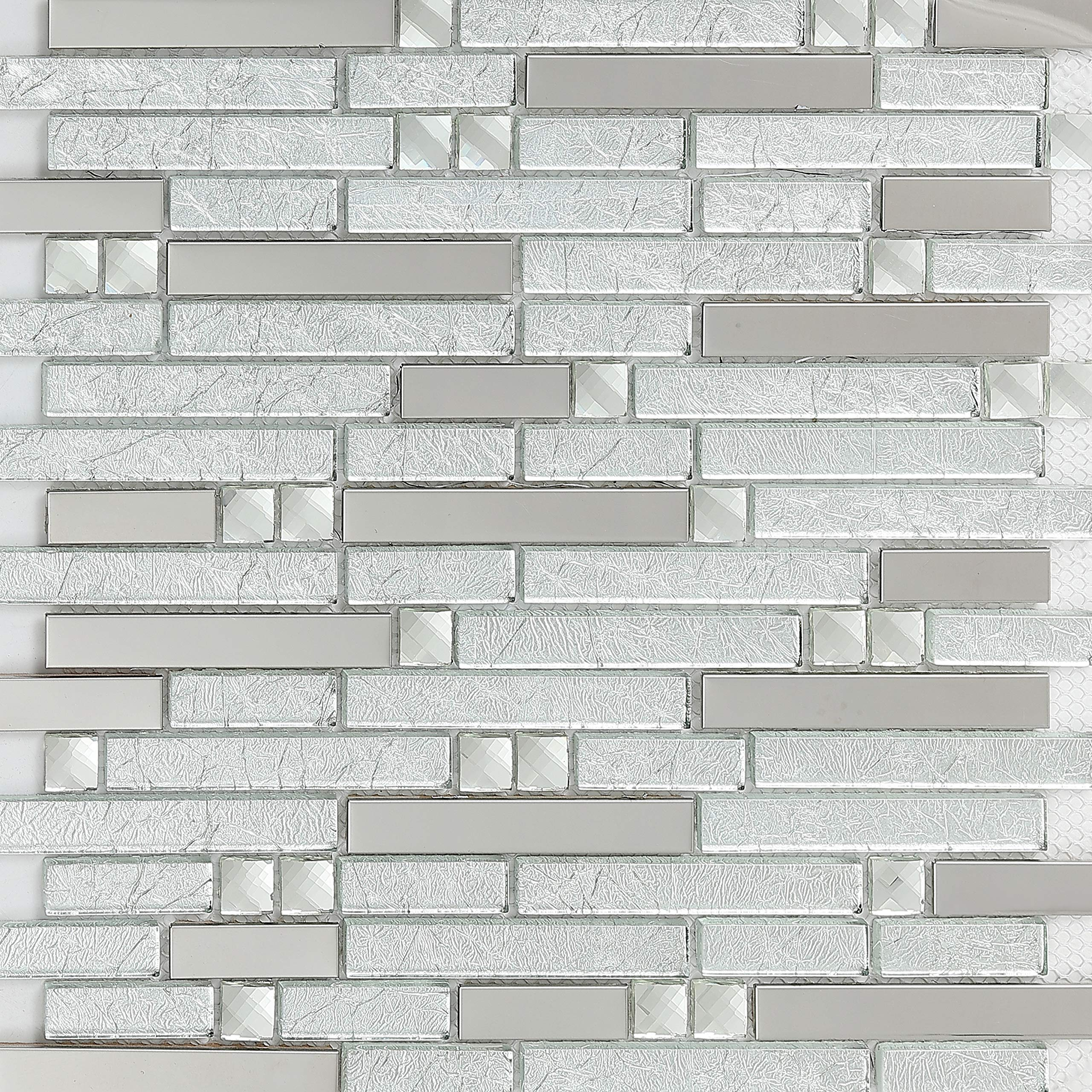 Hominter 11-Sheets Silver Stainless Steel and Clear Glass Tile, Crystal Rhinestone Mosaic, Random Interlocking Patterns for Kitchen/Bathroom/Accent Wall YG002