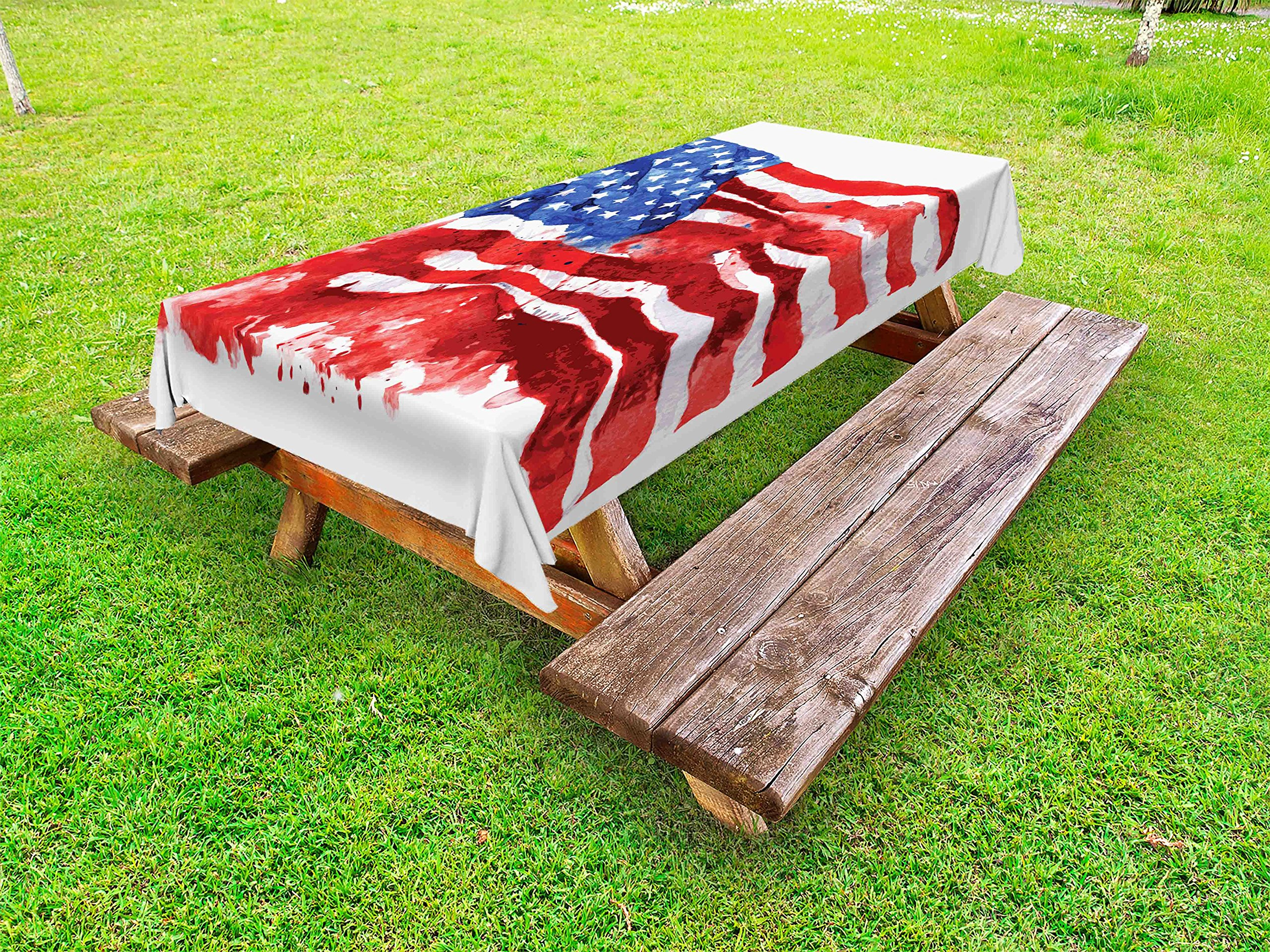 Ambesonne American Outdoor Tablecloth, Flag of America Watercolor Splash National Independence Symbol Abstract Art, Decorative Washable Picnic Table Cloth, 58 X 120 inches, Red Blue White by Ambesonne