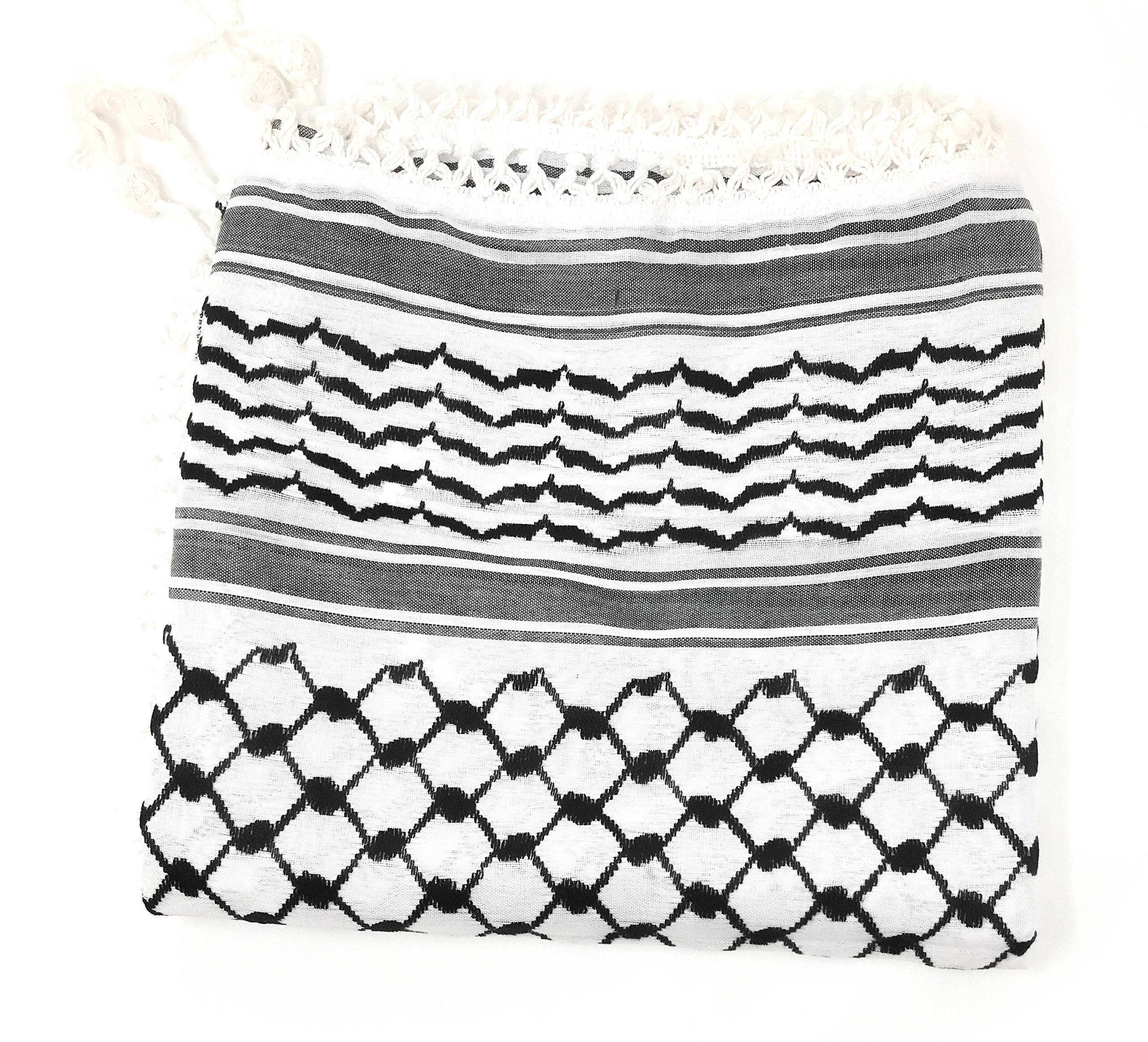 Keffiyeh - 100% Cotton - Tactical Desert Scarf - Covers Full Face - Hand Stitched in the Holy Land (50 x 44) inches
