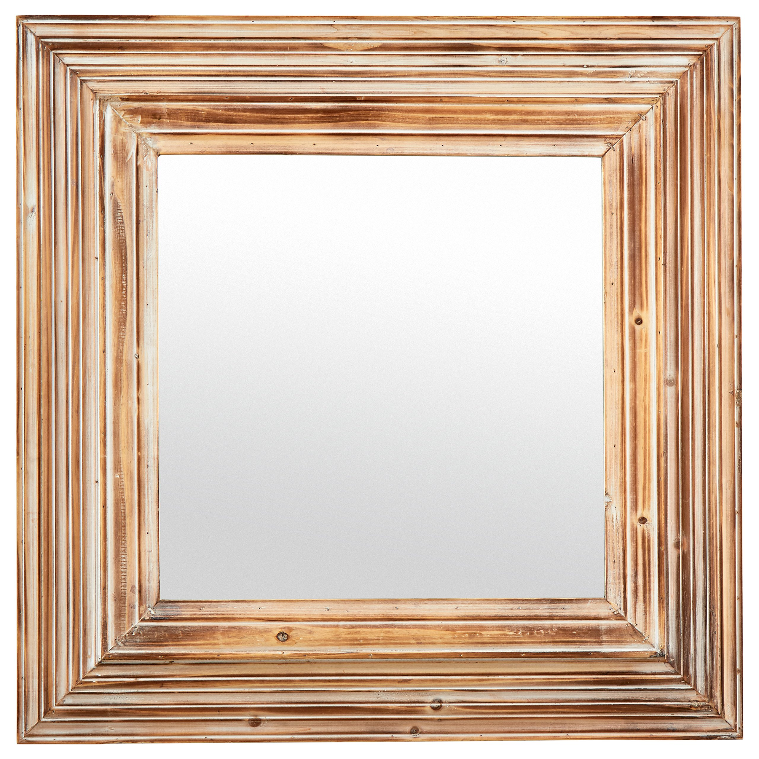 Stone & Beam Vintage-Look Square Mirror, 39.5''H, Tan and White