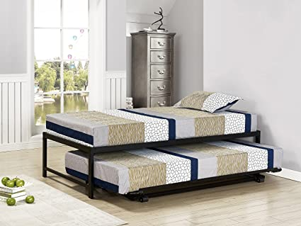 7e8fcb022c5dd Image Unavailable. Image not available for. Color  Kings Brand Furniture  Twin Size Black Metal Platform Bed with Pop Up Trundle