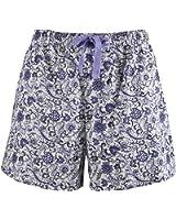 Leisureland Women's Cotton Woven Pajama Lounge Boxer Shorts Floral Purple