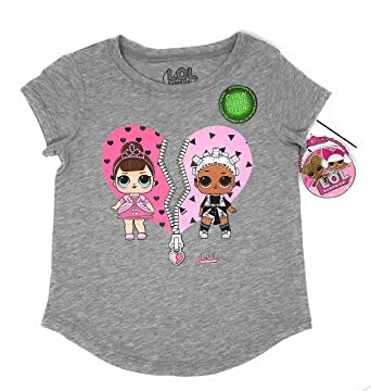 MGA L.O.L. Surprise! LOL Glow In The Dark Surprise Girls T-Shirt (Charcoal