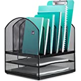 Mindspace Letter & File Desktop Organizer with 6 Vertical + 2 Horizontal Sections | The Mesh Collection, Black