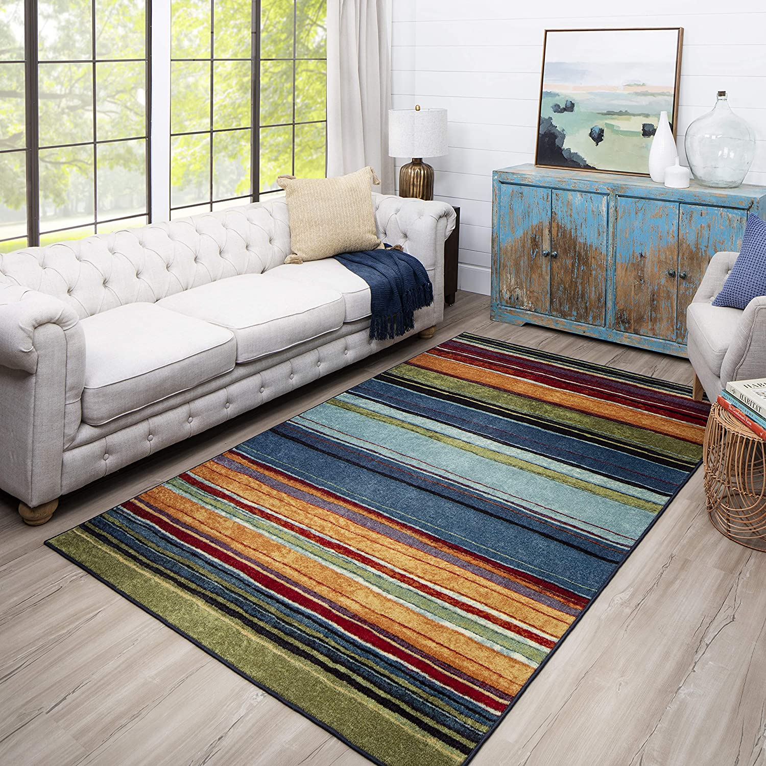 Mohawk Home New Wave Rainbow Stripe Accent Area Rug 2 6 X3 10 Multi Home Kitchen