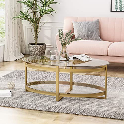 Christopher Knight Home Bell Tempered Glass Coffee Table Round Modern Brass Finish, Clear