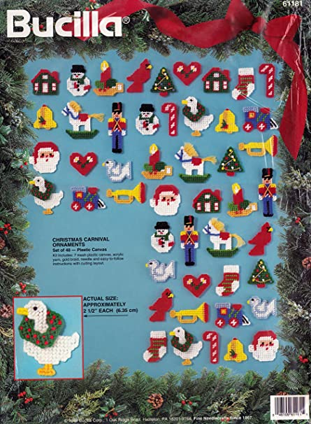 Plastic Canvas Christmas Ornaments.Bucilla Christmas Carnival Plastic Canvas Cross Stitch Ornament Kit 61181