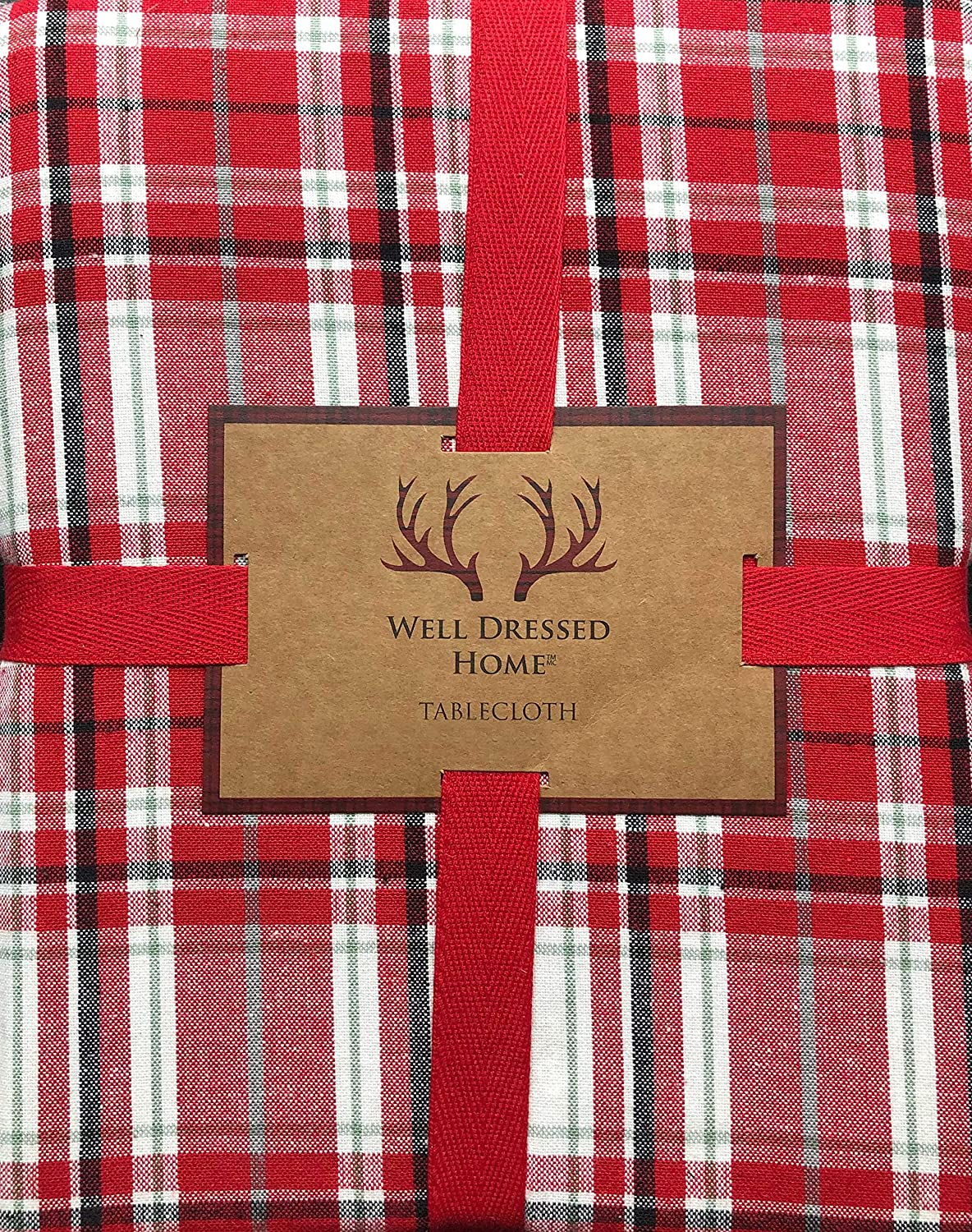 Well Dressed Home Tablecloth Holiday Christmas Checked Plaid Pattern in Shades of Red and White, with Thin Green Stripes, 60 Inches x 84 Inches