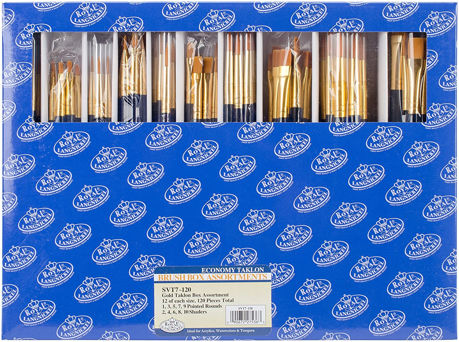 Royal & Langnickel Classroom Assortment Rounds and Flats Golden Taklon Brush, 120-Piece by Royal & Langnickel B003V190NS