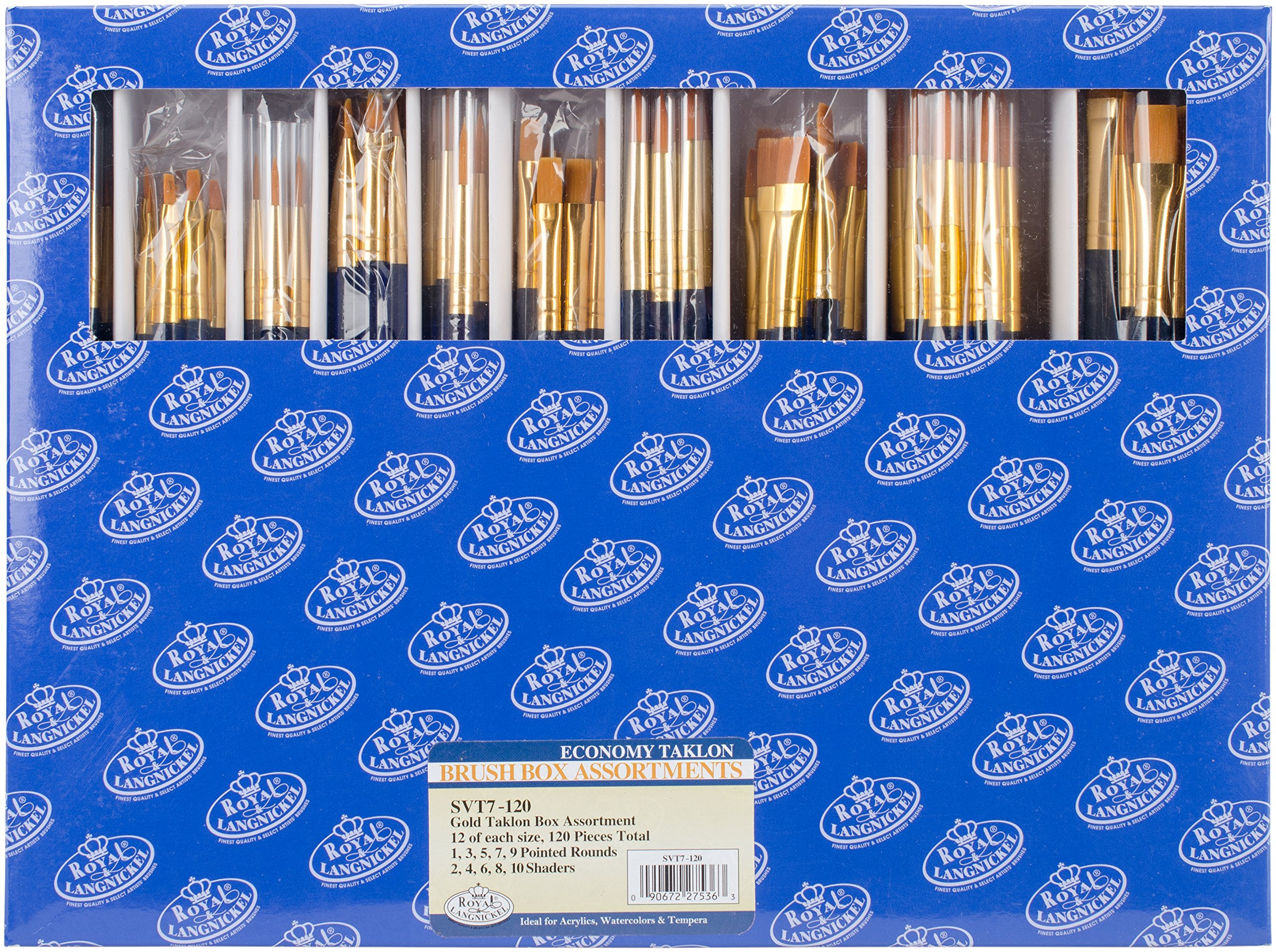 Royal & Langnickel SVT7-120 Classroom Assortment Rounds and Flats Golden Taklon Brush, 120-Piece by Royal & Langnickel