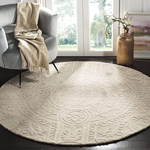 Safavieh Blossom Collection BLM109F Light Grey and Ivory Premium Wool Round Area Rug 6 Diameter