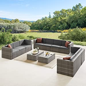 Volans 8 Pieces Patio Furniture Sets, Patio Garden Backyard Rattan Conversation Set, Outdoor PE Wicker Sectional Sofa Couch with 2 Pillows and Glass Table, Gray