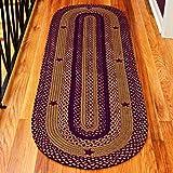 "IHF HOME DECOR Oval Floor Carpet Braided Rug 20"" x 30"" New STAR WINE Design Jute Fabric"