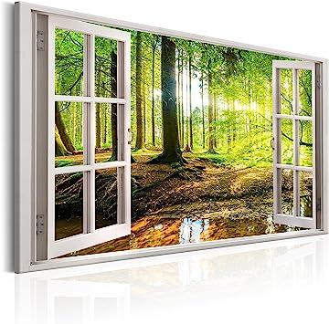 LEINWAND Deko Bilder FENSTERBLICK Wald NATUR Bild WANDBILDER 7 Motive KUNSTDRUCK