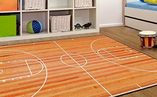 Brumlow MILLS Basketball Court Sports Theme Area Rug for Teens Bedroom, Kids Playroom or Classroom Accent Rug, 5 x 8 EW10162-5×8