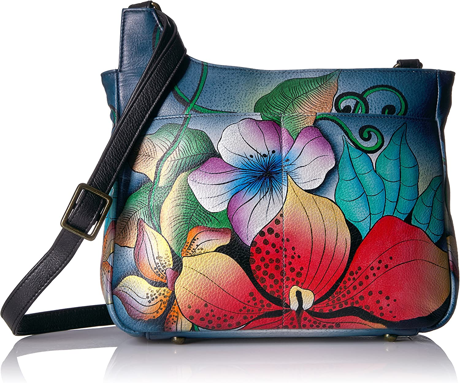 Anna by Anuschka, Handpainted Leather Medium Cross Body-midnight Floral