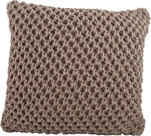 SARO LIFESTYLE 1590 Sheridan Collection Cotton Knitted Design Down Filled Throw Pillow, Mocha, 20 Square