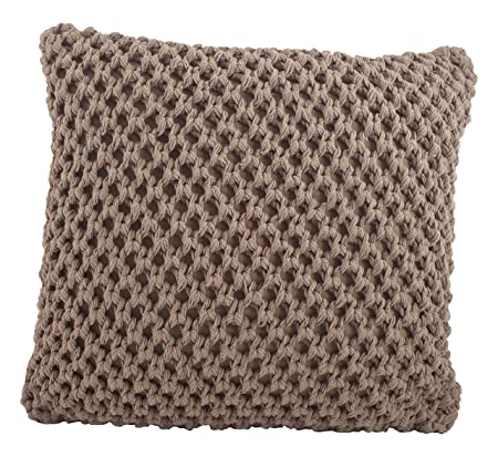 SARO LIFESTYLE 1590 Sheridan Collection Cotton Knitted Design Down Filled Throw Pillow, Mocha, 20 Square,
