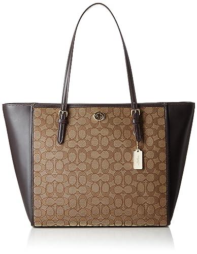 ccb7956a4801 ... tan shoes 0d289 a5fa4 cheap coach womens signature turnlock tote li  khaki brown tote 215ae fa82c ...