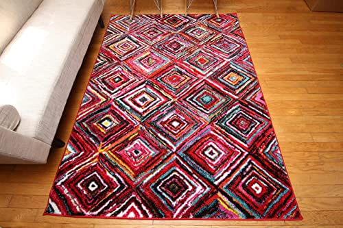 RADIANCE Art Collection Contemporary Modern Squares Wool Area Rug, 5 2 x 7 3, Multicolor