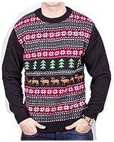 Mens & Ladies Christmas Jumper Reindeer Tree Fairisle Pattern (Black)
