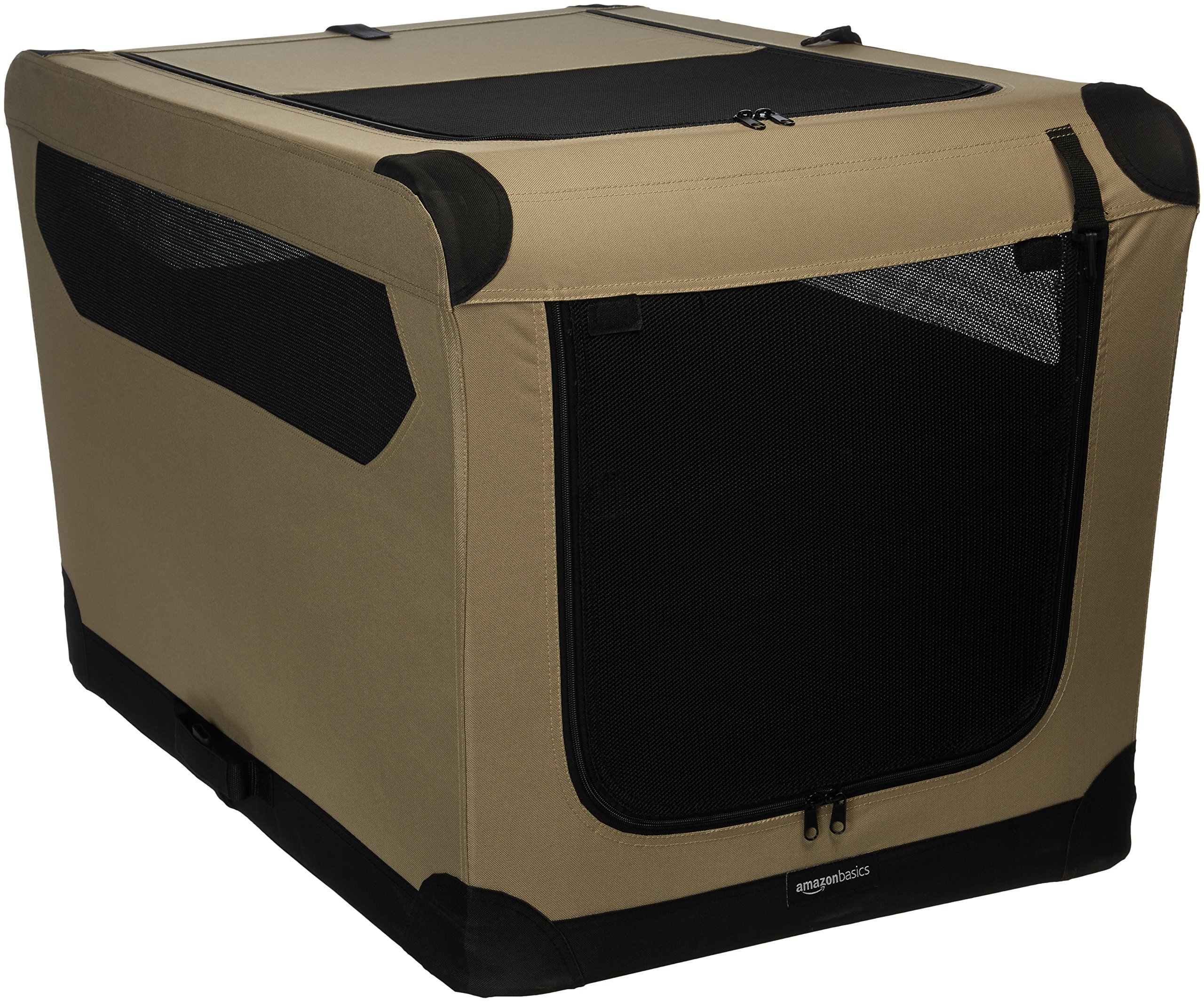 AmazonBasics Portable Folding Soft Dog Travel Crate Kennel - 24 x 24 x 36 Inches, Tan by AmazonBasics