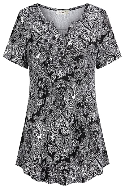 383e794c24ff BEPEI Short Sleeve Tunics for Women, Casual Lightweight Vintage Floral  Blouse Henley V Neck Ruched Pattern Flattering Flared Hem Tunic Tops  Classic Elegant ...
