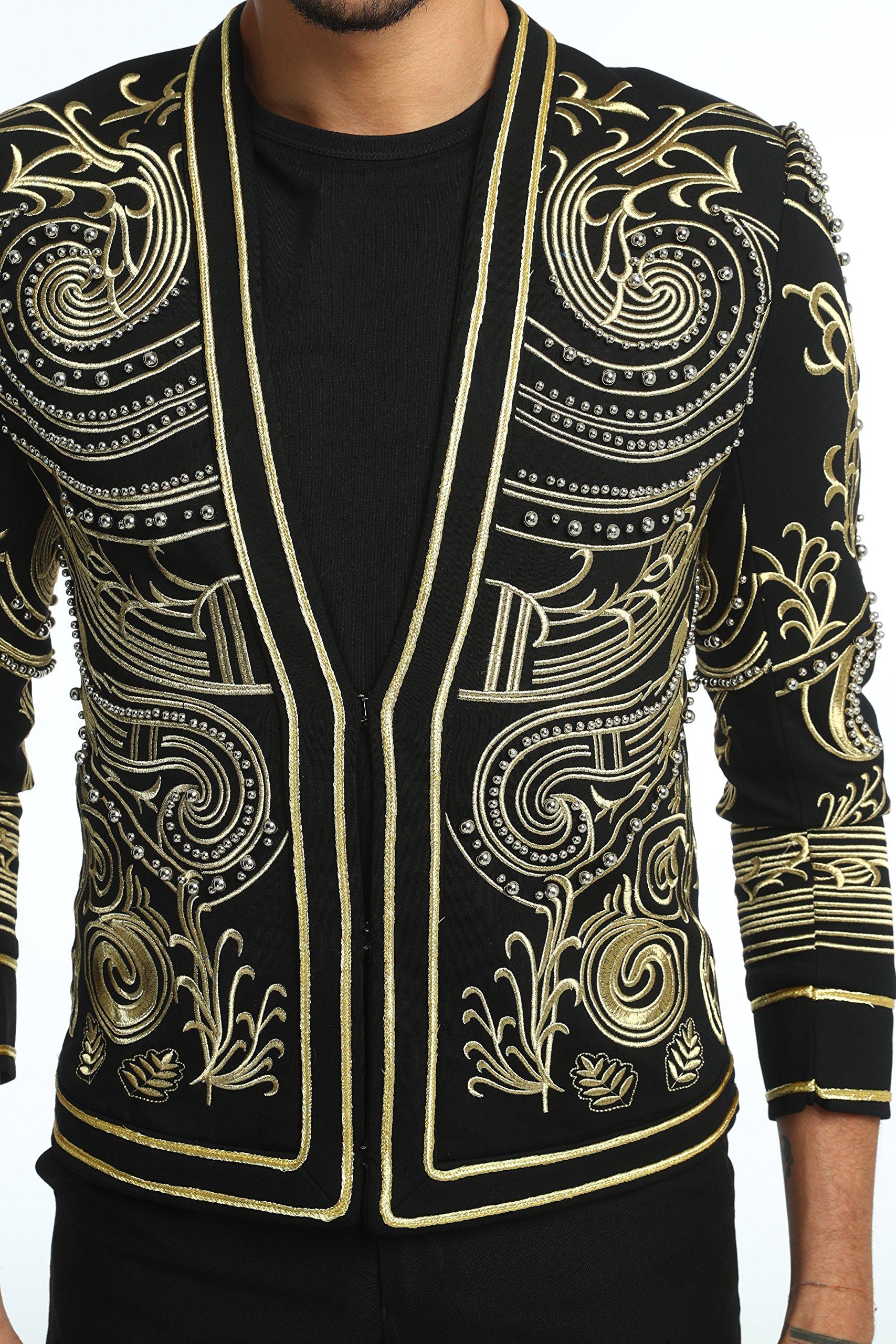 Pizoff Men's Luxury V-Neck Slim Fit Stylish Suit Blazer Jacket Long Sleeve Formal Dinner Dress AD001-02-L by Pizoff (Image #5)