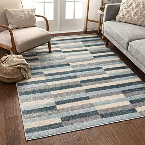 Amazon Com Well Woven Bryson Stripes Geometric Blocks Blue Grey Area Rug 5x7 5 3 X 7 3 Home Kitchen