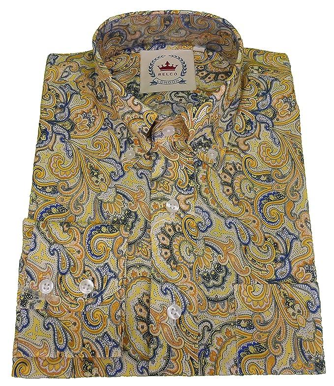 Relco - Camiseta de Manga Corta para Hombre, diseño de Cachemira Verde Turquesa M: Amazon.es: Ropa y accesorios