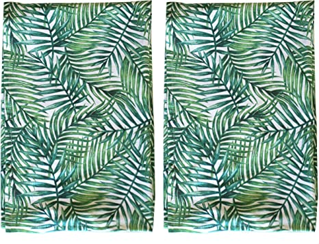 Palm Print Leaf Tea Towel Set Of 2 Absorbent Hand Towels 100 Cotton With Hanging Loop For All Of Your Drying Wiping And Cleaning Kitchen And Bathroom Tasks Perfect For The