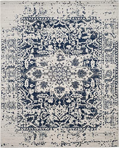 Safavieh Madison Collection MAD603D Cream and Navy Distressed Medallion Area Rug 9' x 12'
