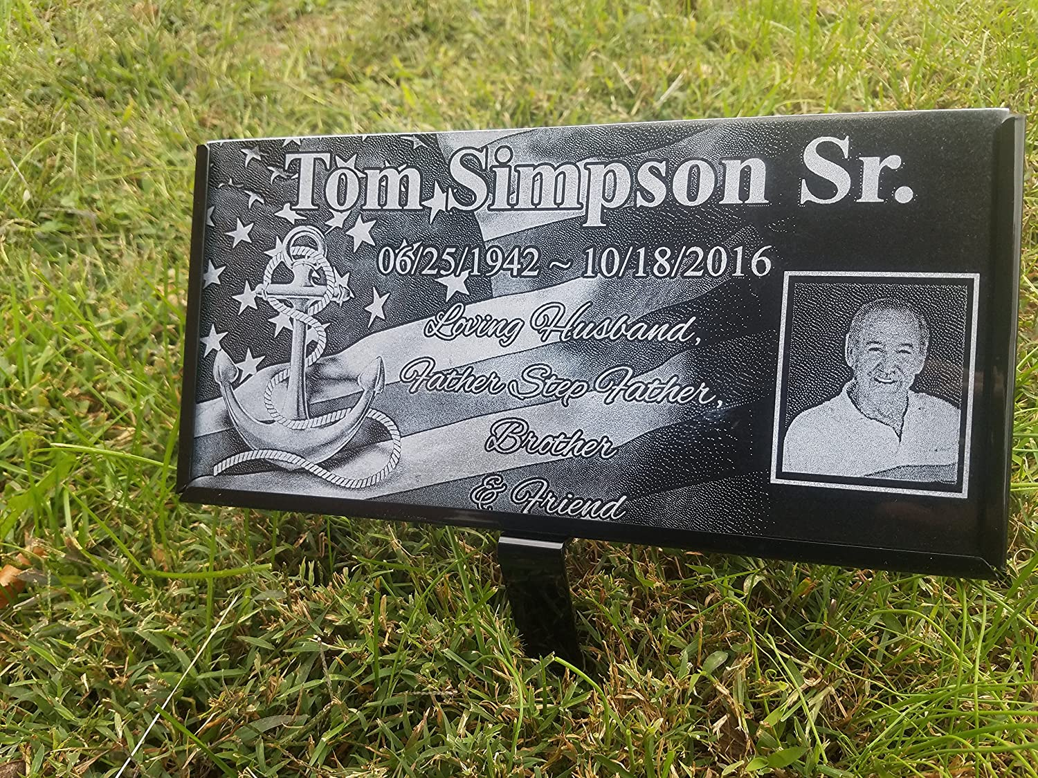 Granite Stone and Stand Marker Personalized with Picture of Choice/Text of Choice