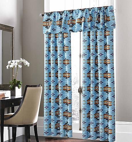 Nu Trendz Signature Southwest Design Navajo Print Turquoise Blue 5 Piece Curtain Set, Design 16112