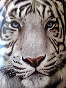 """American Heritage Collection, """"White Face Tiger"""" Micro Raschel Throw Blanket by The Hautman Brothers, 50"""" x 60"""", Multi Color"""