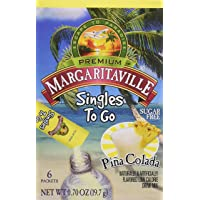 Margaritaville Singles To Go Water Drink Mix Flavored Non-Alcoholic Powder Sticks, Pina Colada, 6 Count