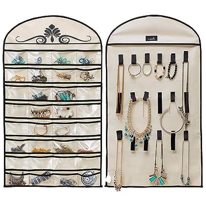 211251066 MISSLO Hanging Jewelry Organizer Holder 32 Pockets 18 Loops for Accessories  Storage, Beige