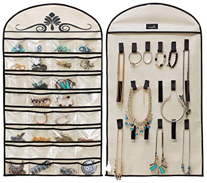 7176a02e2 Amazon.com: MISSLO Hanging Jewelry Organizer Holder 32 Pockets 18 Loops for Accessories  Storage, Beige: Home & Kitchen