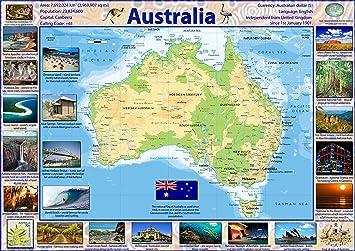 Carte Geographique Australie Gratuit Grand Format.Poster Plastifie Motif Carte D Australie A1 Claire