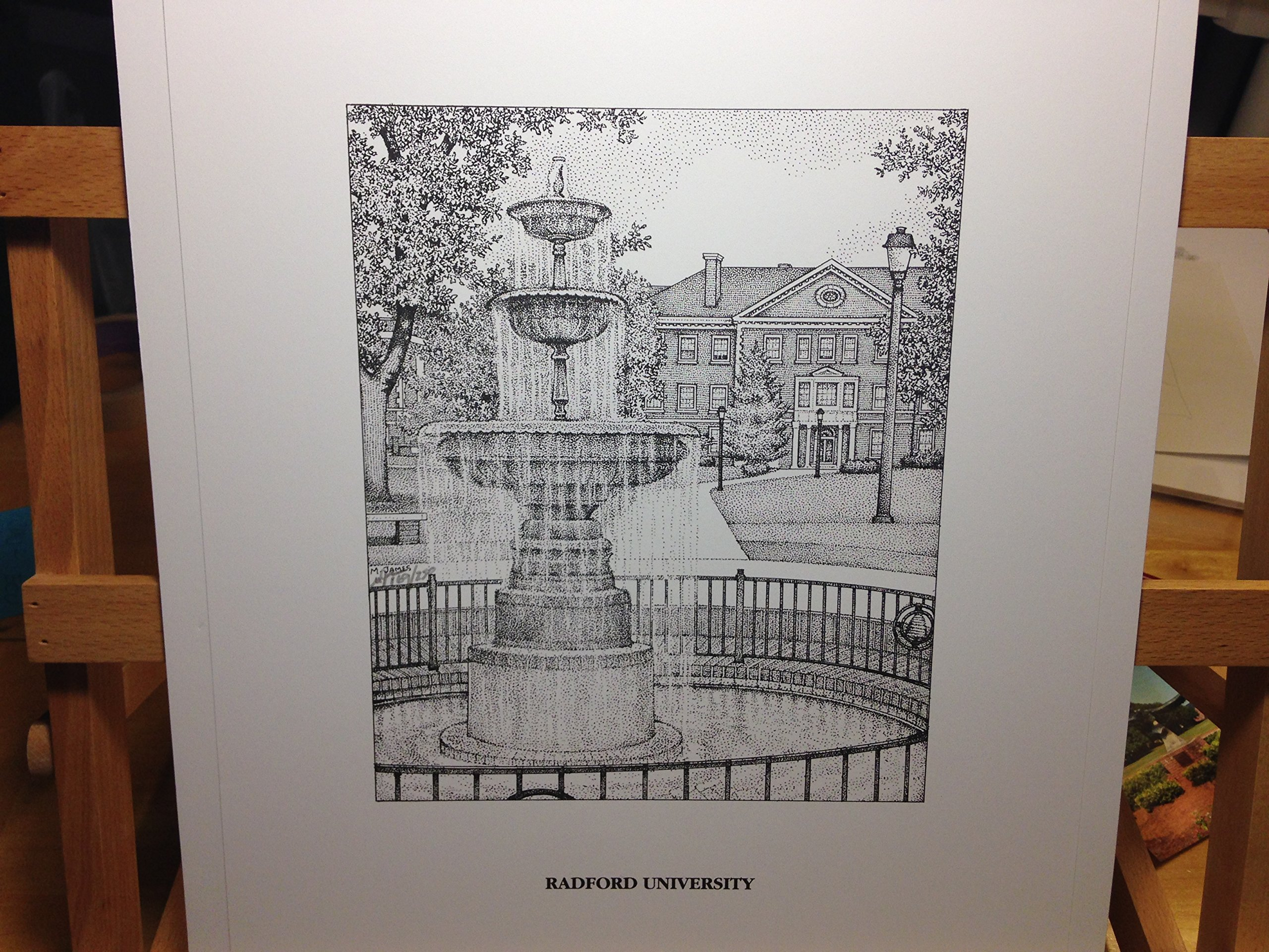 Radford University - Fountain 11''x14'' pen and ink print by Campus Scenes