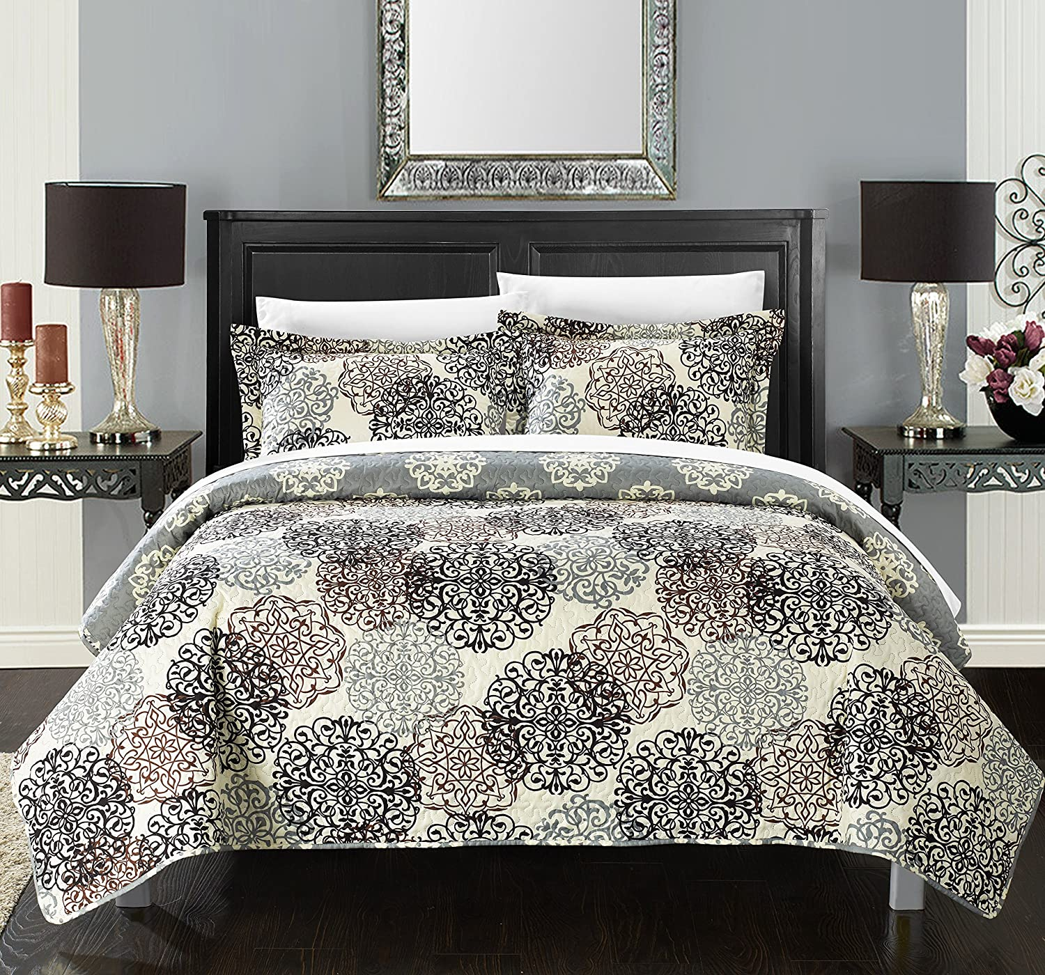 Chic Home 2 Piece Kelsie Boho Inspired Reversible Print Quilt Set, Twin, Beige QS2800-AN