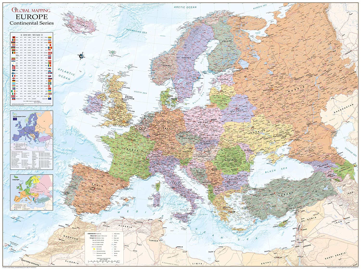 Amazon.com: Global Mapping Europe Political Wall Map - 53