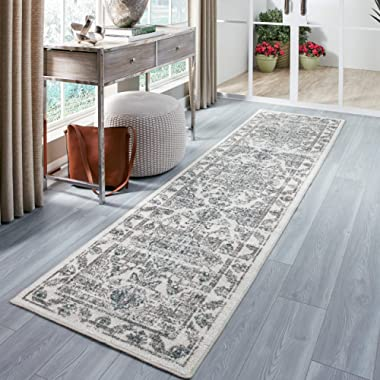 Maples Rugs Runner Rug - Distressed Tapestry 2'6 x 10 Non Skid Hallway Entry Rugs Runners [Made in USA] for Kitchen and Entryway, Neutral