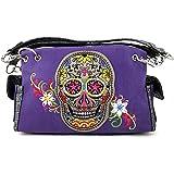 Justin West Fashion Purple Mulitcolor Embroidered Floral Sugar Skull Women Purse Shoulder Handbag
