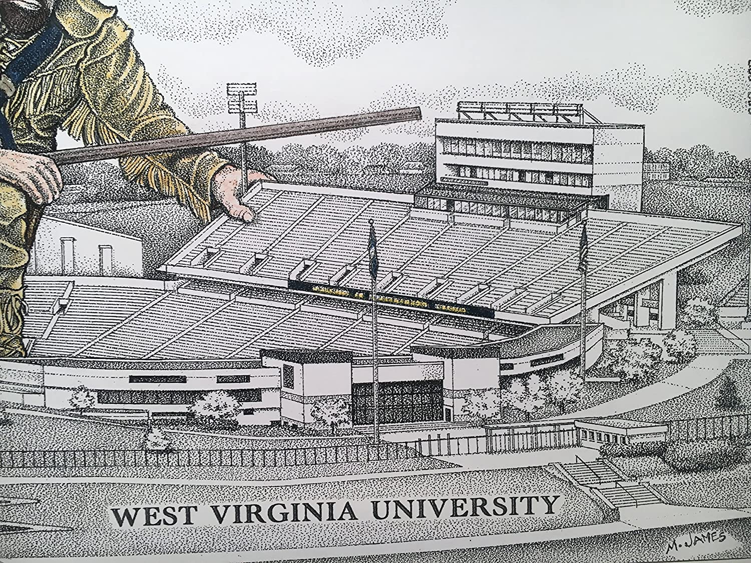 pen and ink drawing with mountaineer in color West Virginia football stadium