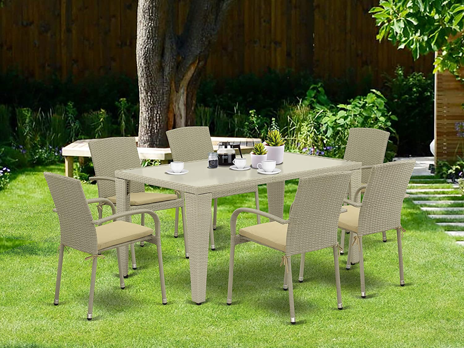East West Furniture GUJU703A 7Pc Outdoor Natural Color Wicker Dining Set Includes a Patio Table and 6 Balcony Backyard Armchair with Linen Fabric Cushion