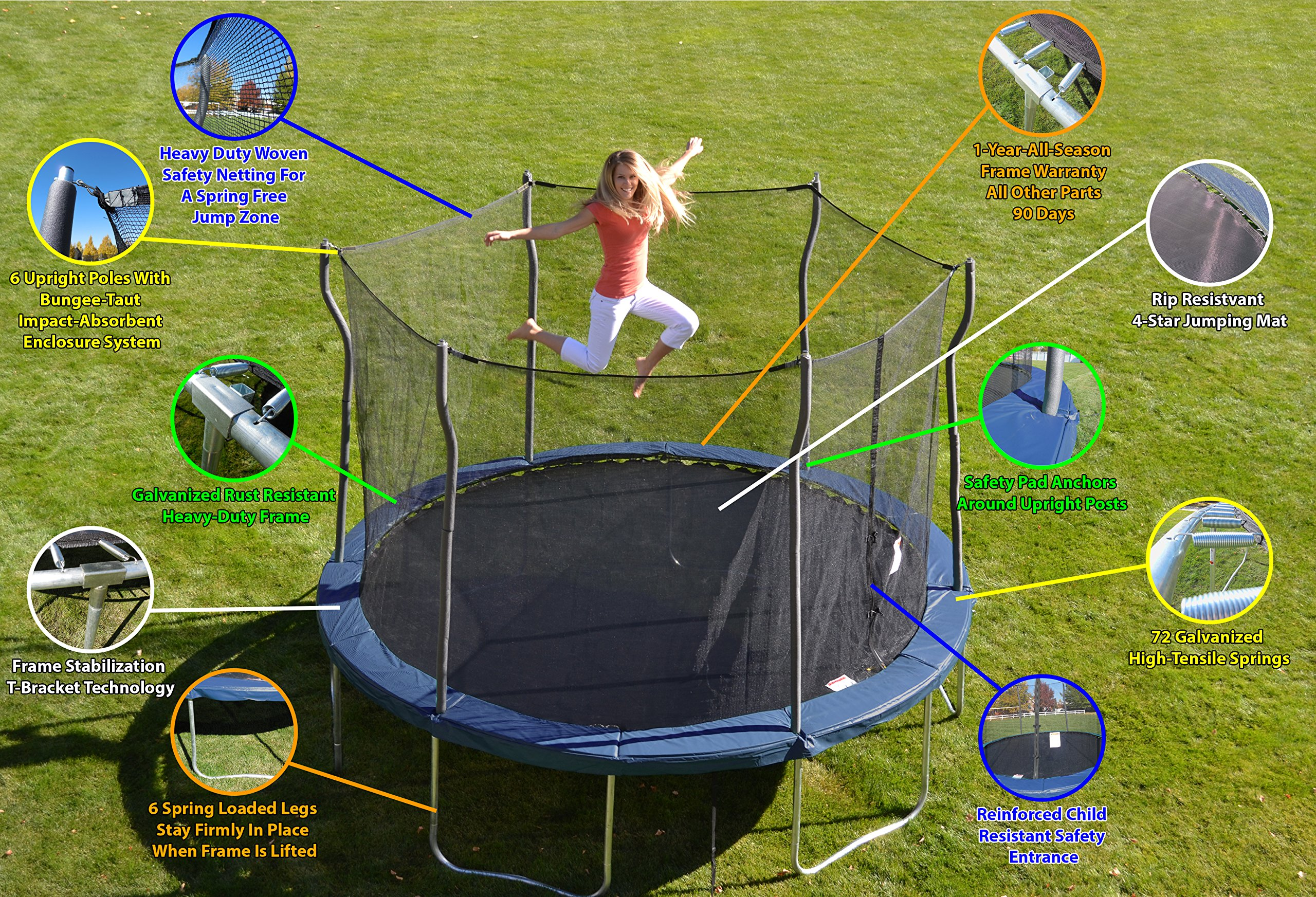 Kinetic Trampolines K12-6BE Trampoline with Enclosure, Blue, 12-Feet by Kinetic Trampolines